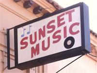 photo of Sunset Music store sign